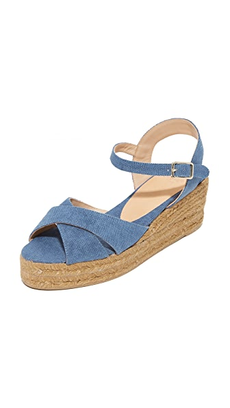 Castaner Washed Canvas Crisscross Wedge Espadrilles - Jeans