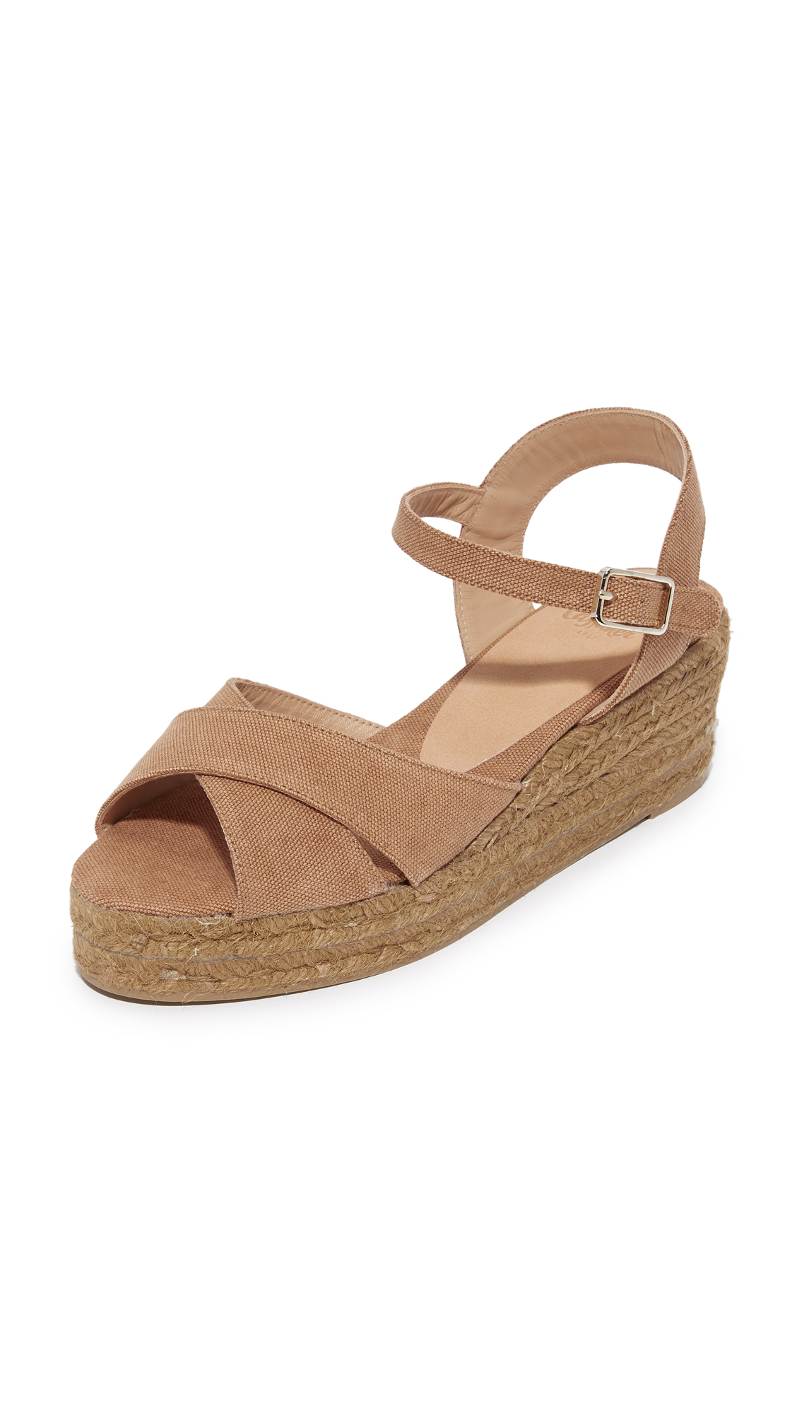 Castaner Washed Canvas Crisscross Wedge Espadrilles - Tostado