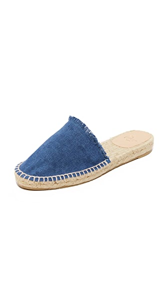 Castaner Fringed Denim Mule Slides