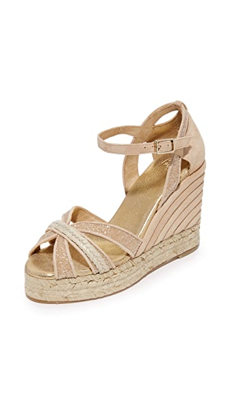 Castaner Wedding Sparkle Crisscross Wedge Espadrilles