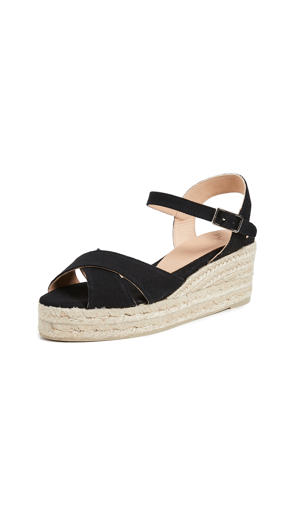 Castaner Blaudell Crisscross Low Wedges - Black
