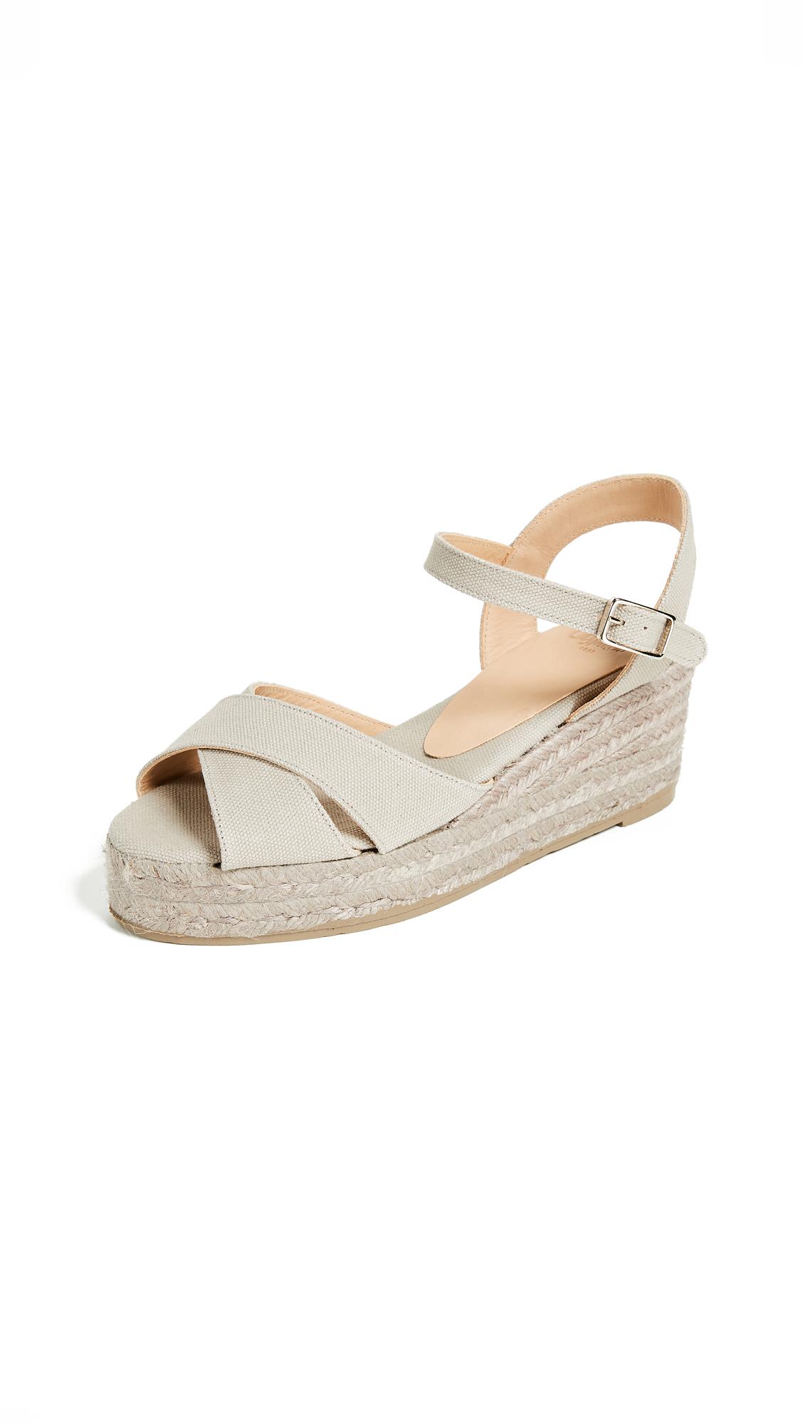 Castaner Blaudell Crisscross Wedge Sandals - Piedra/Yute