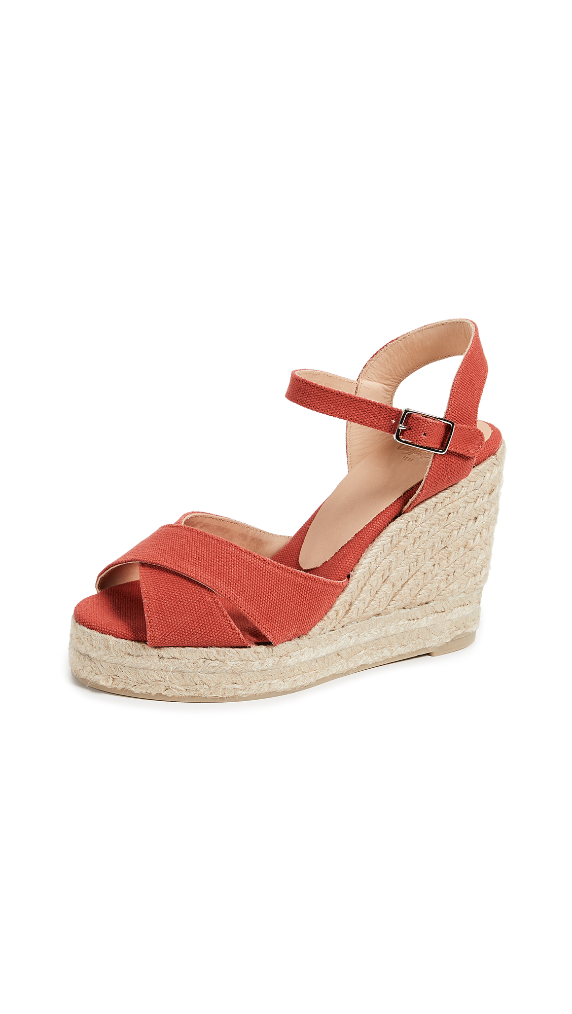 Castaner Blaudell Crisscross Wedge Sandals - Coral