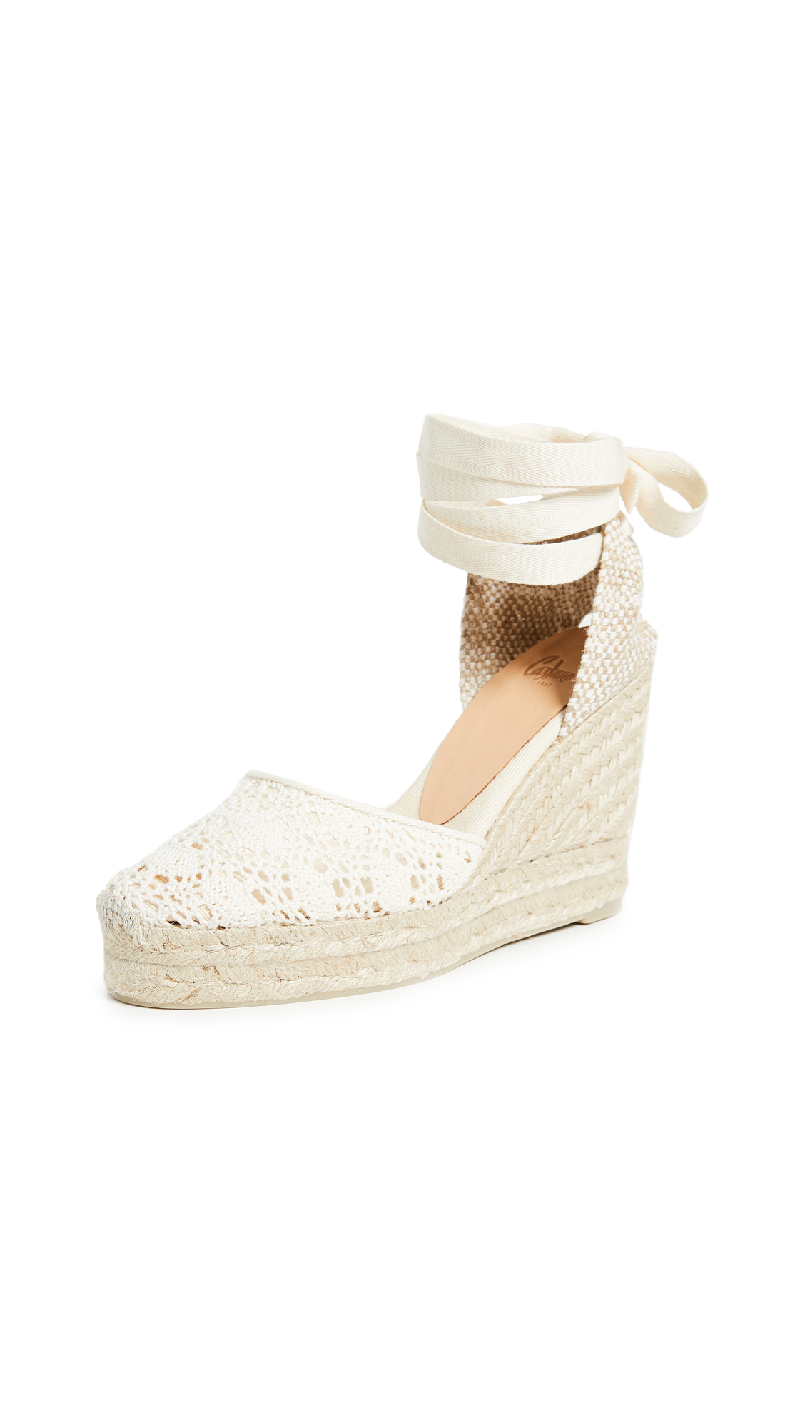 Castaner Carina Eyelet Wedges - Natural