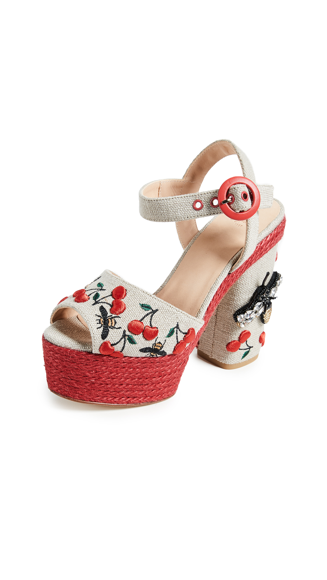 Castaner Aloe Platform Cherry Sandals - Natural