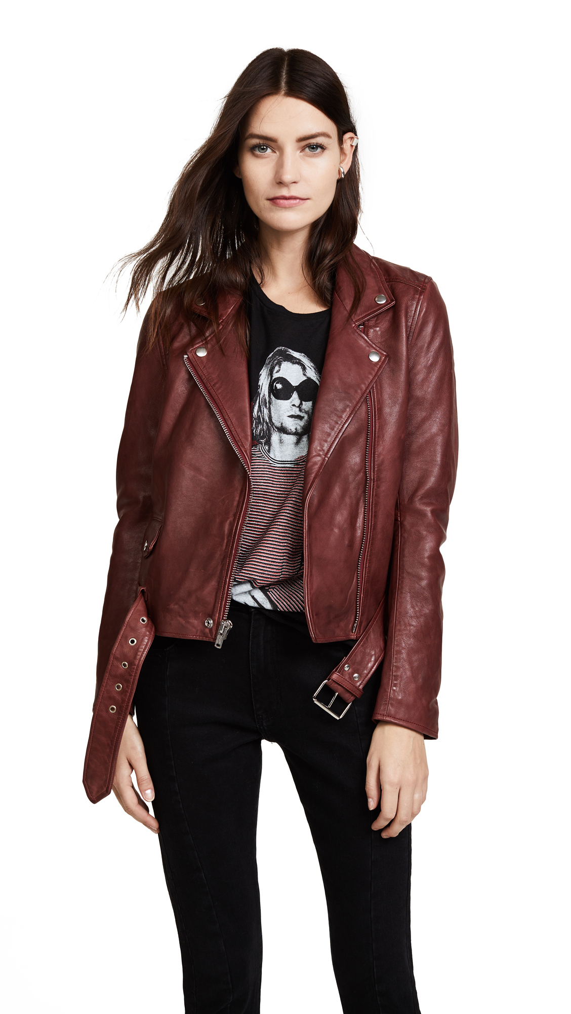 Christian Benner Solid Moto Jacket In Red