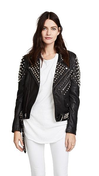 Christian Benner Studded Moto Jacket In Black