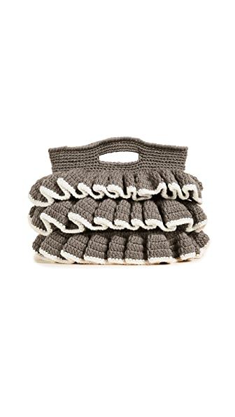 Caterina Bertini Wool Knit Clutch In Grey/Ivory