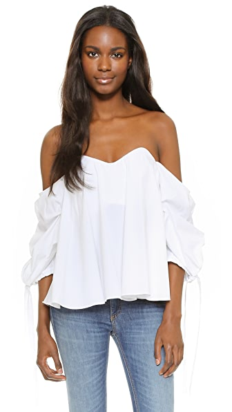 Caroline Constas Gabriella Bustier Off Shoulder Top - White