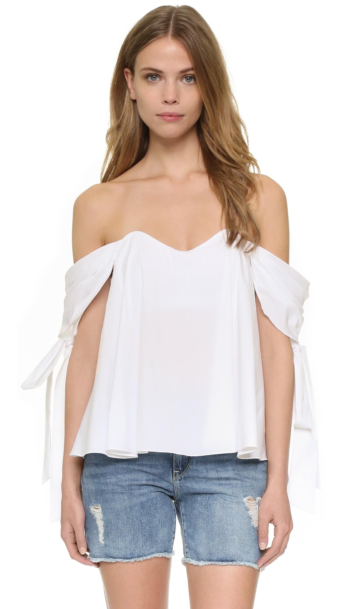 Caroline Constas Zoe Off Shoulder Bustier Top - White
