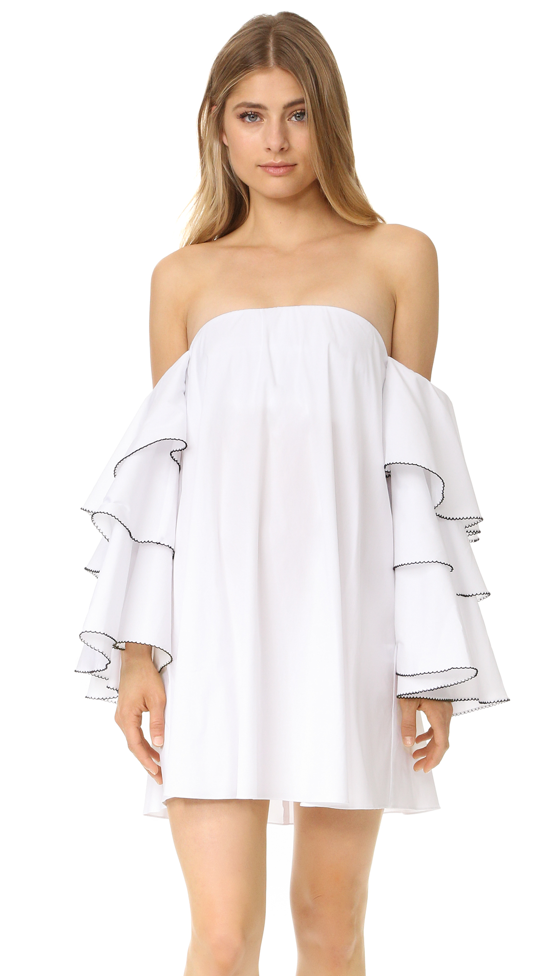 Caroline Constas Carmen Off Shoulder Dress - White/Black