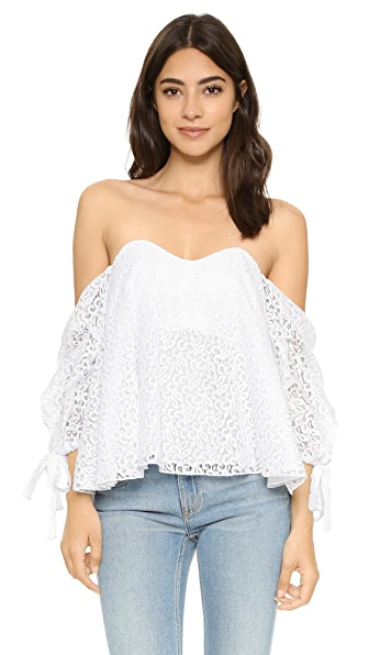 Caroline Constas Gabriella Lace Off Shoulder Top