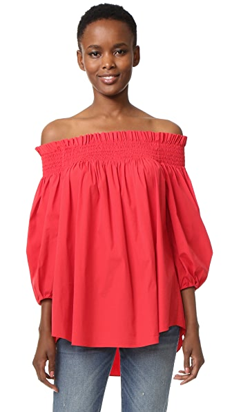 Caroline Constas Lou Off Shoulder Blouse - Red