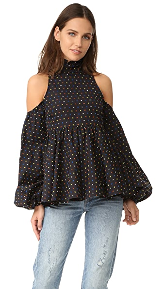 Caroline Constas Cold Shoulder Top - Black Multi