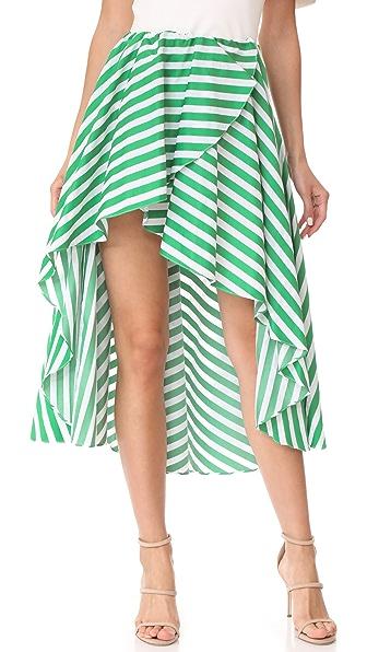Caroline Constas Adelle Skirt In Green/White