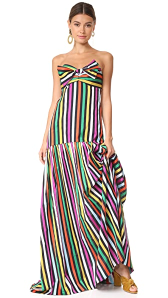 Caroline Constas Rainbow Stripe Gown - Black Multi