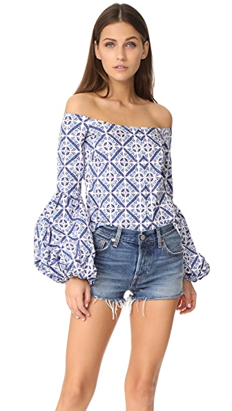 Caroline Constas Gisele Top - Blue Multi