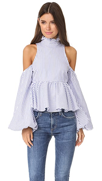 Caroline Constas Cold Shoulder Top In Blue Stripe