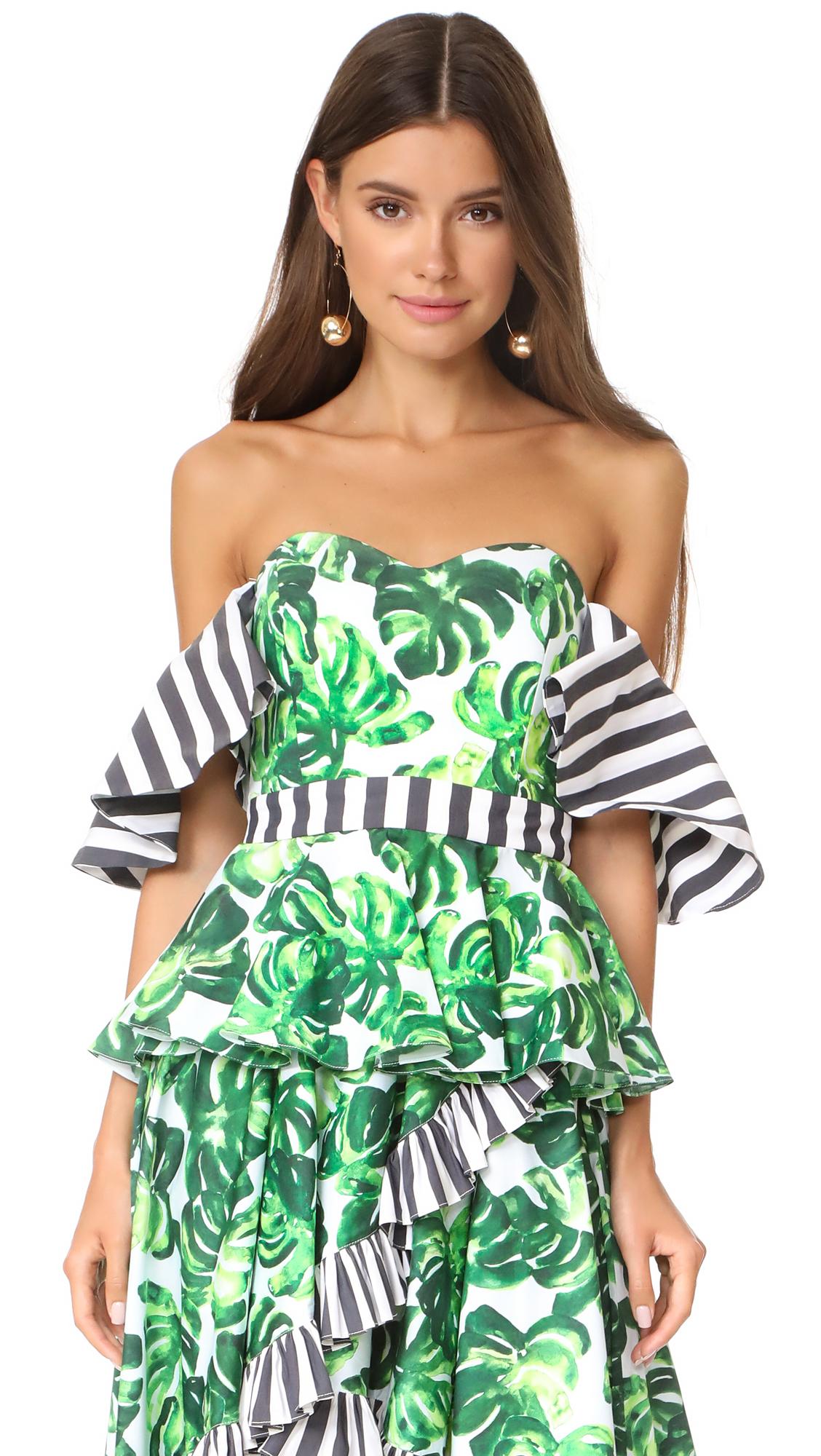 Caroline Constas Irene Top - Palm Stripe Combo