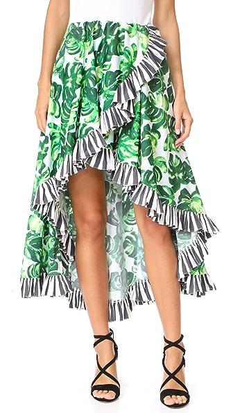 Caroline Constas Adele Skirt In Palm Stripe Combo