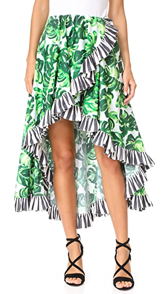 Caroline Constas Adele Skirt - Palm Stripe Combo