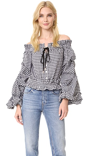 Caroline Constas Lorena Blouse In Black