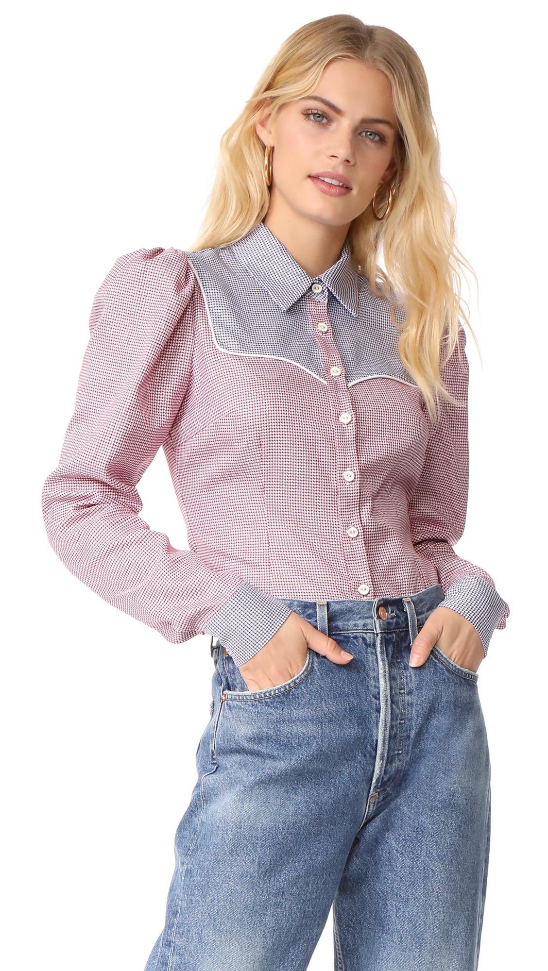 Caroline Constas Clementine Shirt - Red Multi