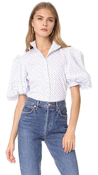 Caroline Constas Daisy Top In Blue