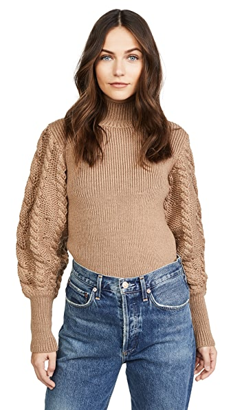 Caroline Constas Chunky Cable Knit Sweater In Camel