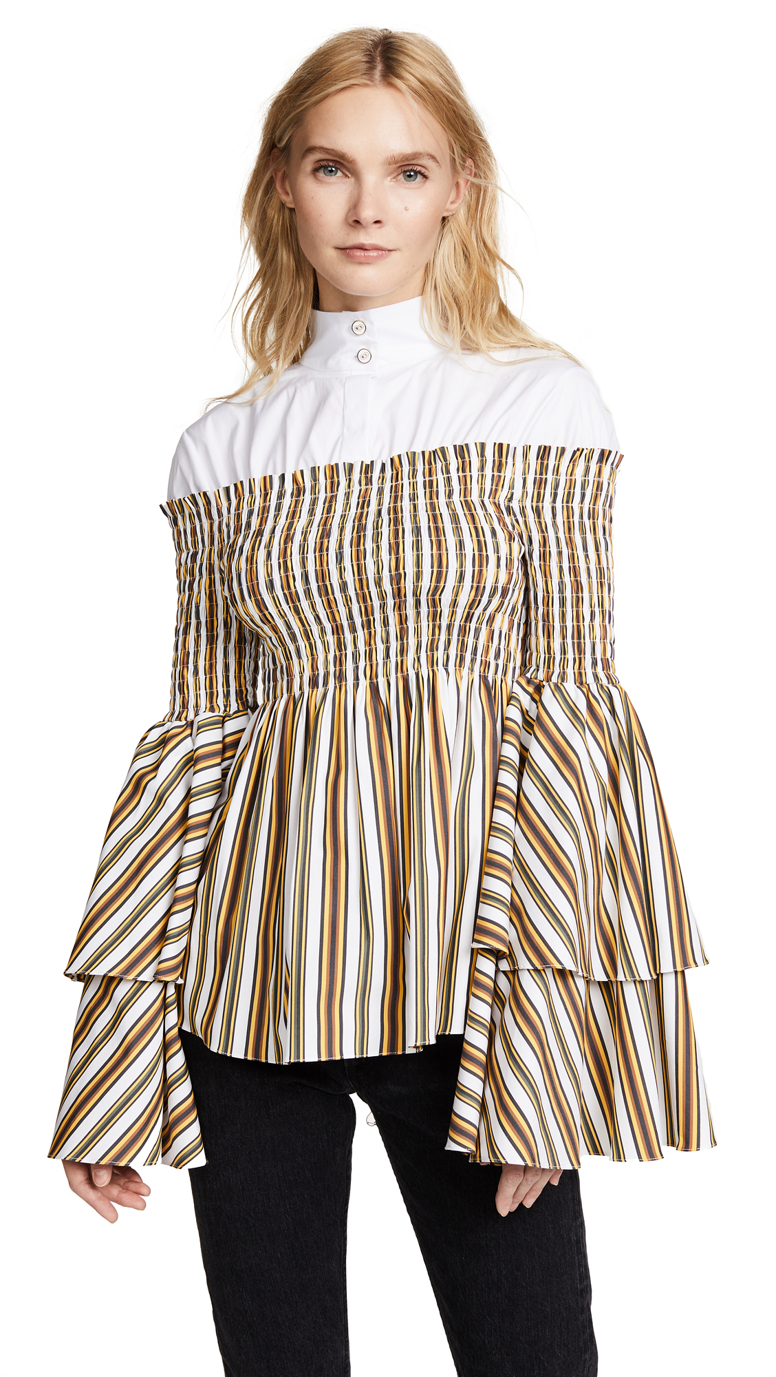 Caroline Constas Ali Combo Blouse - White/Stripe Combo