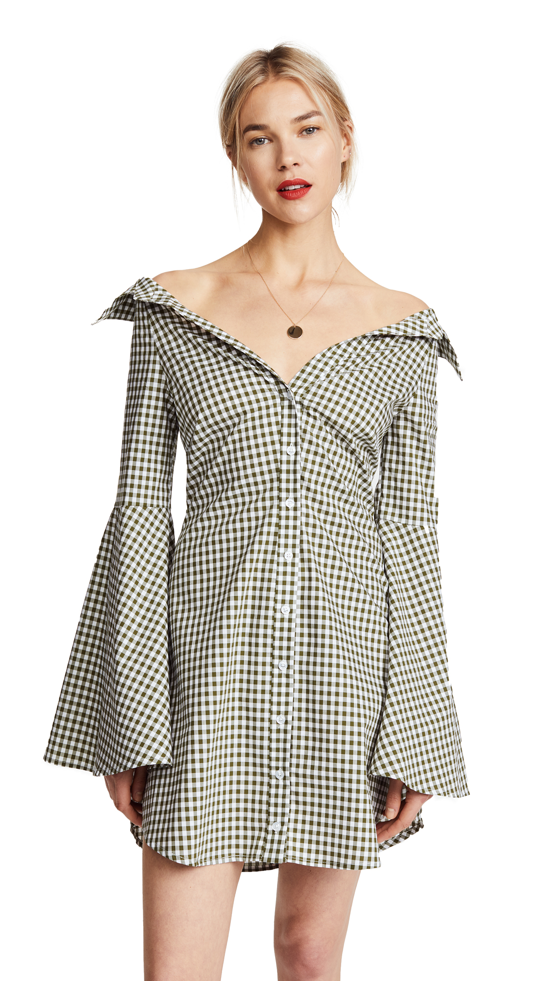 Caroline Constas Persephone Mini Dress - Olive Gingham