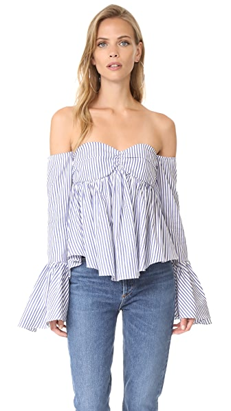 Caroline Constas Max Top In Royal Blue Stripe