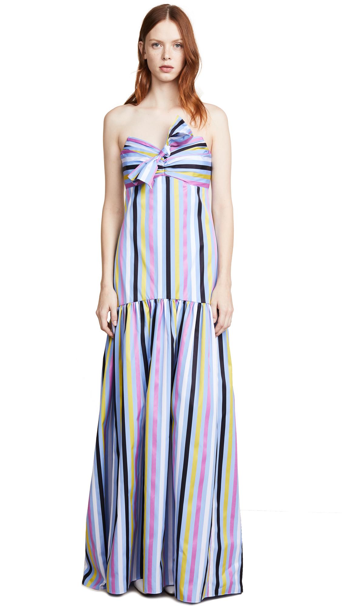 Caroline Constas Strapless Maxi Dress In Peacock Multi