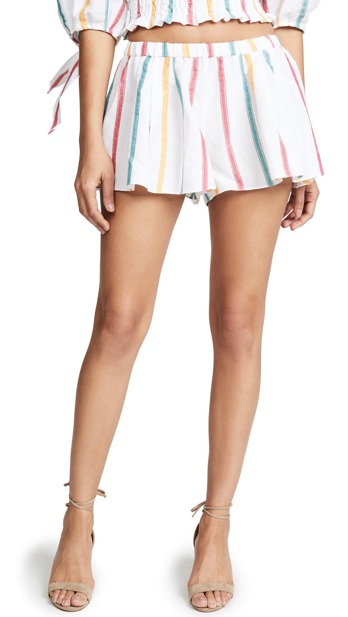 Caroline Constas Pleated Shorts In White Multi