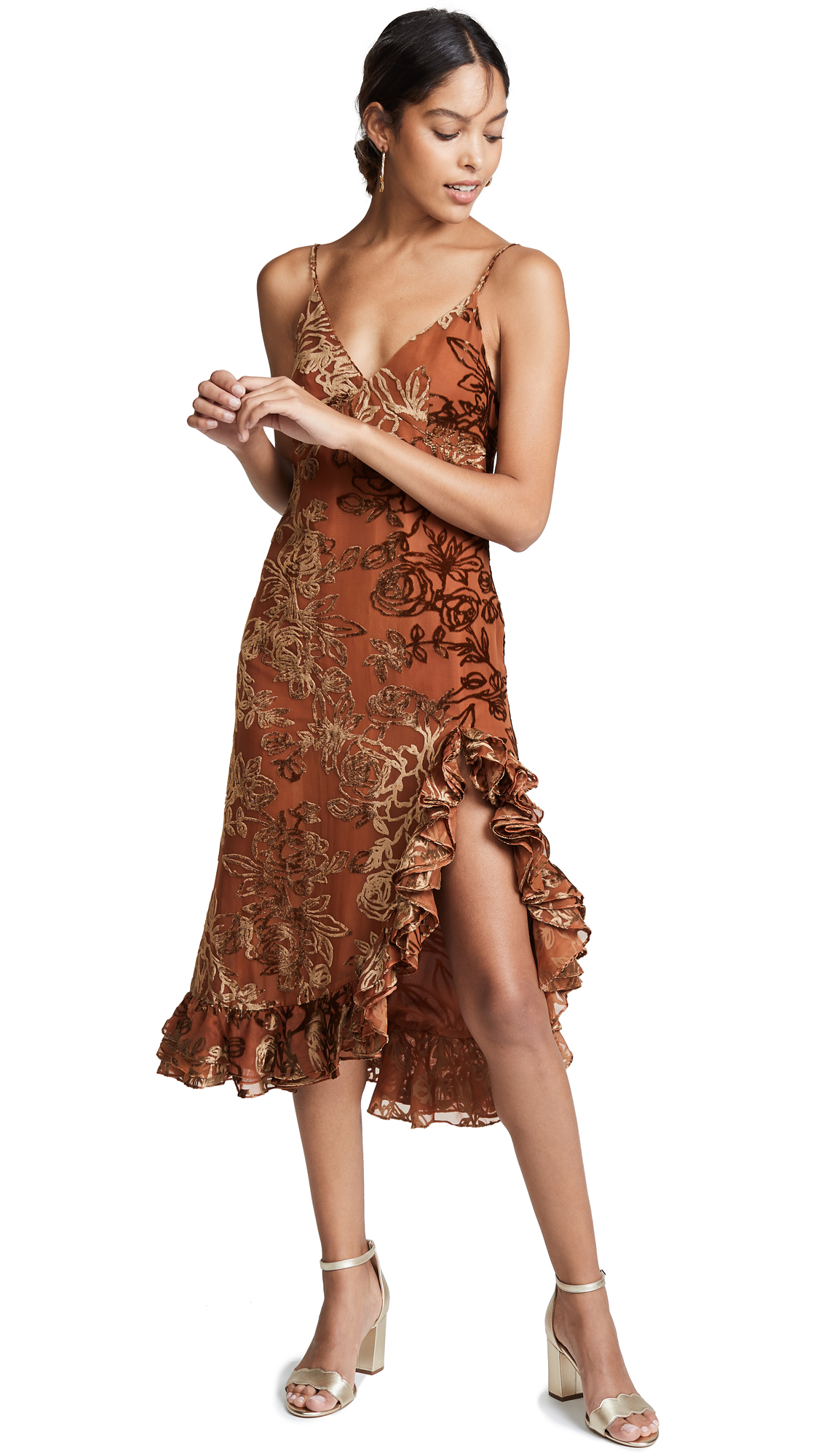 CAROLINE CONSTAS Elvira Velvet Slip Dress Brown in Bronze