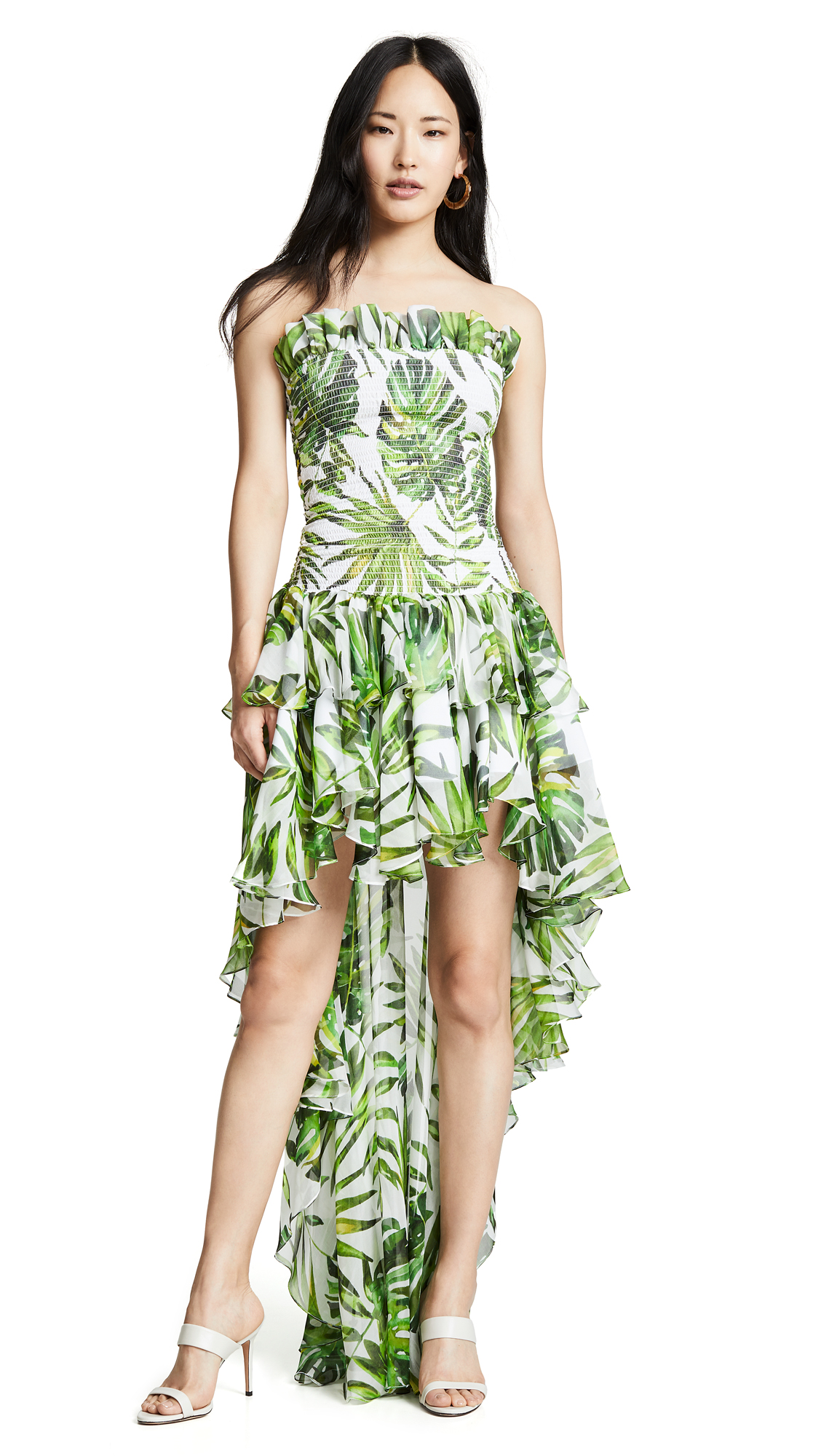 Caroline Constas Lola Smocked Dress - White Multi