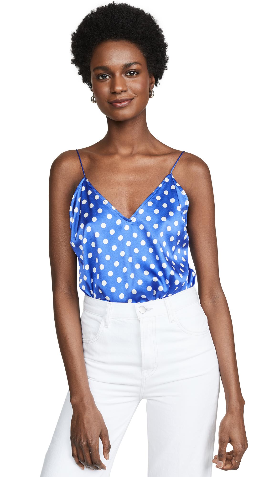 Caroline Constas Slip Tank Bodysuit - Blue/White