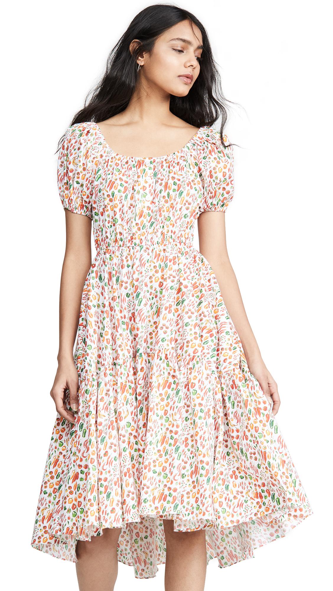 Caroline Constas Bardot Flounce Dress - White Multi