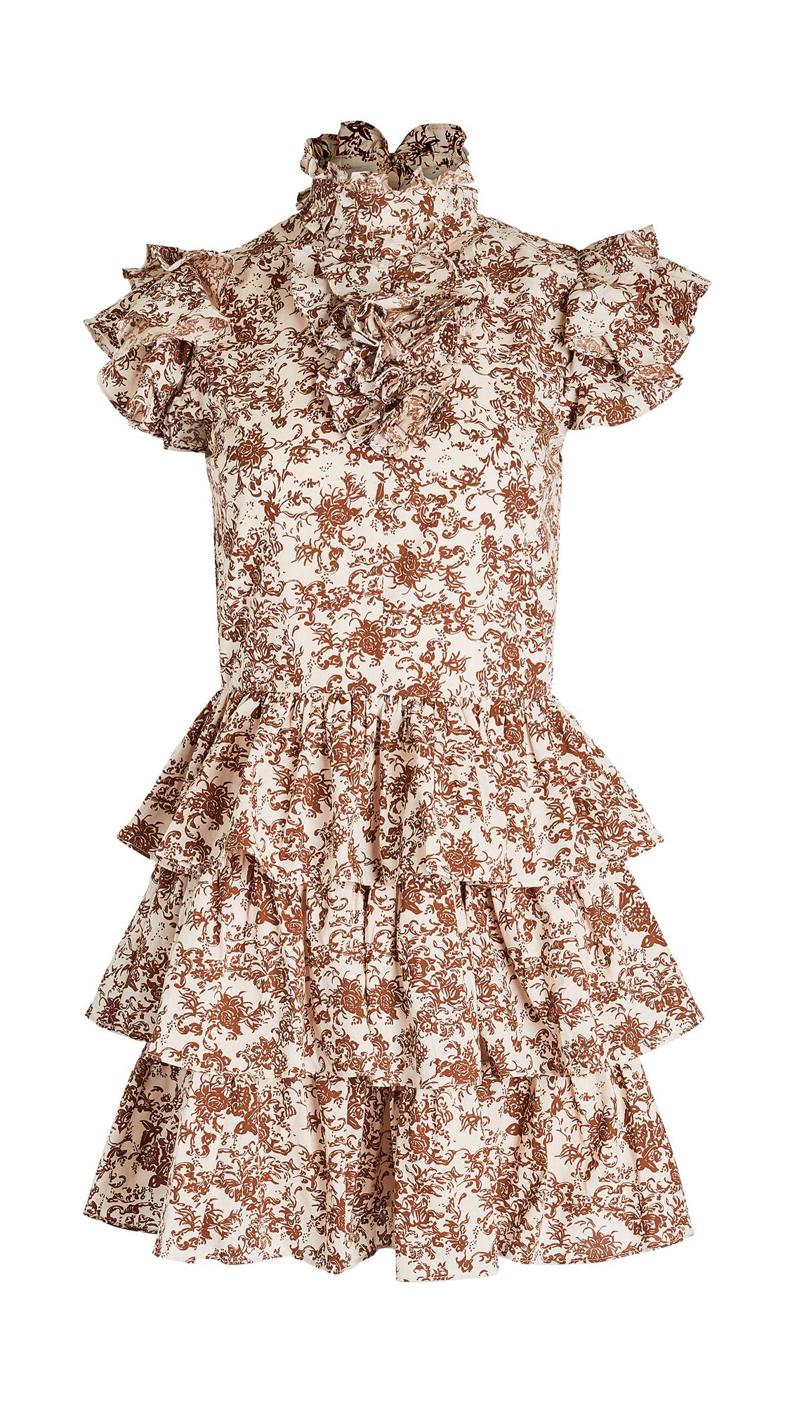 Caroline Constas Kyra Dress - Rust