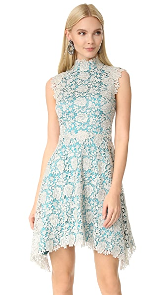 Catherine Deane Izzy High Neck Lace Dress - Metallic Silver/Turquoise