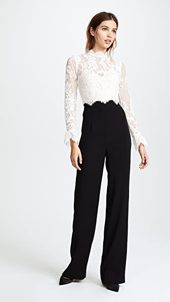 Catherine Deane Jackie Lace Jumpsuit - Oyster/Nude/Black