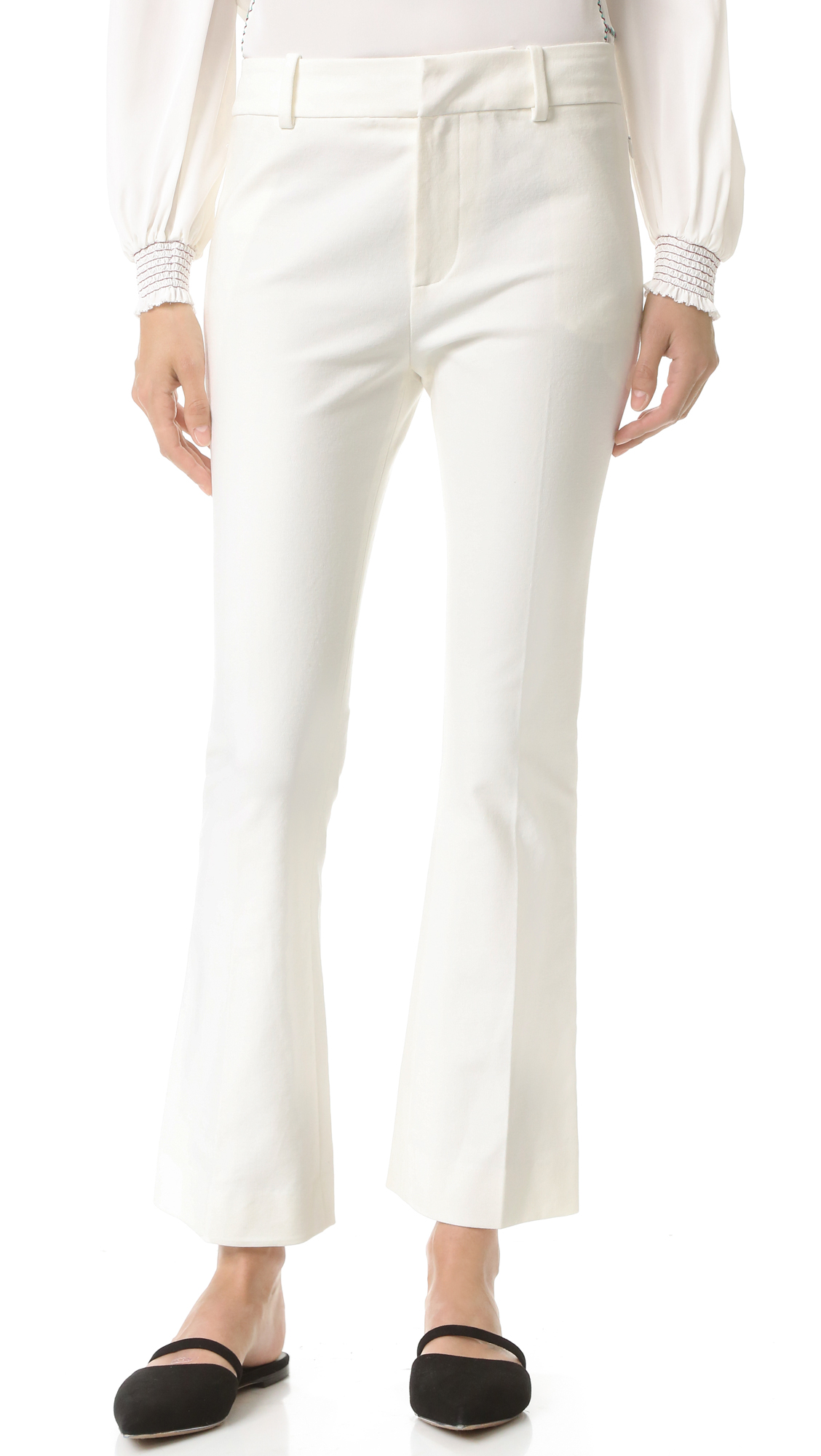 Derek Lam 10 Crosby Cropped Flare Trousers - Soft White