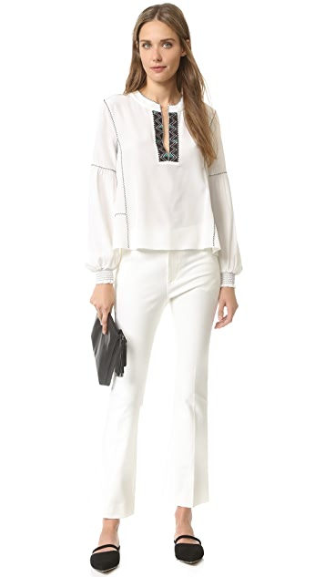 Derek Lam 10 Crosby Long Sleeve Blouse with Smocked Cuffs