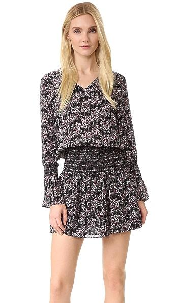 Derek Lam 10 Crosby Long Sleeve V Neck Dress with Smocked Skirt