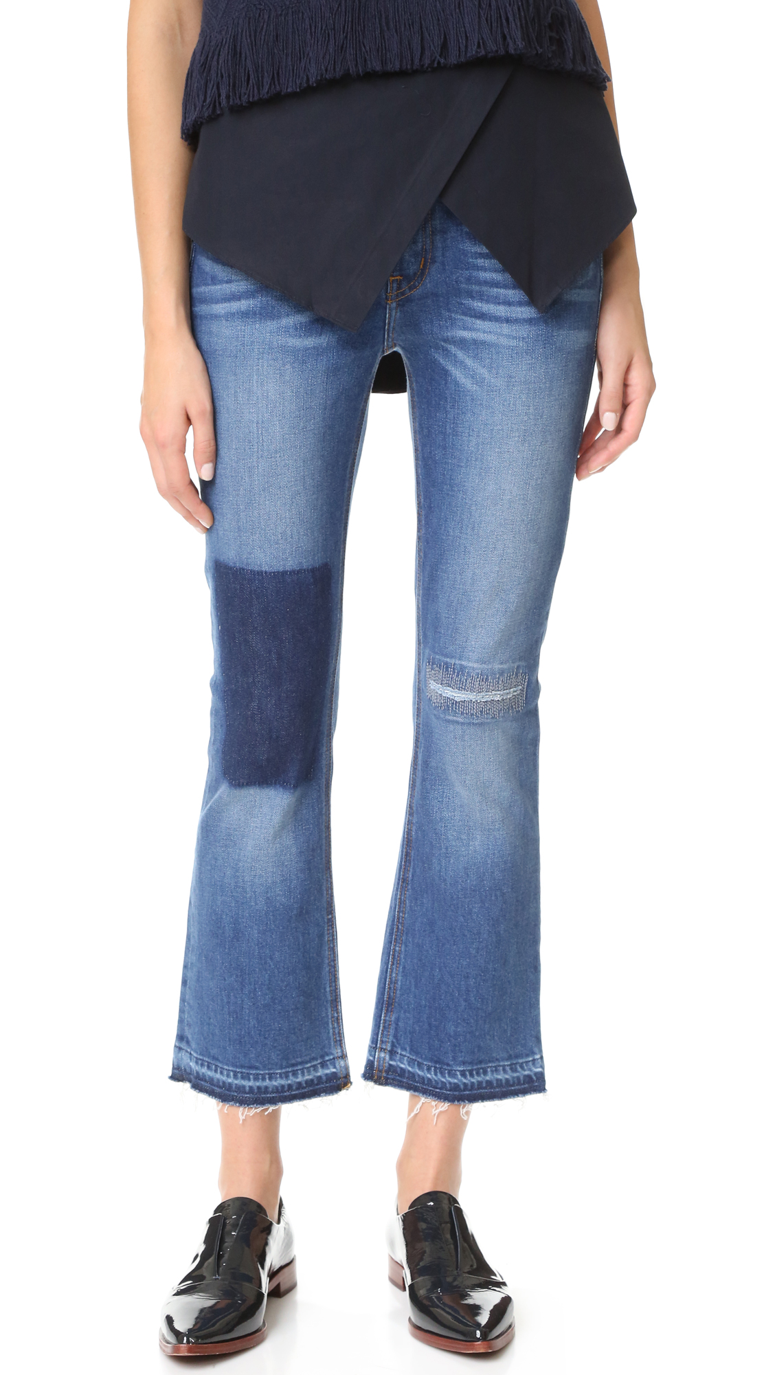 Derek Lam 10 Crosby Gia Mid Rise Cropped Flare Jeans - Medium Wash at Shopbop