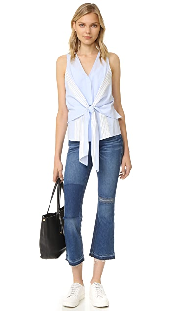 Derek Lam 10 Crosby Sleeveless Tie Front Top