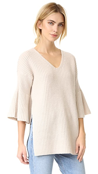 Derek Lam 10 Crosby V Neck Tunic Sweater with Bell Sleeves - Oatmeal