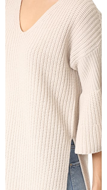 Derek Lam 10 Crosby V Neck Tunic Sweater with Bell Sleeves