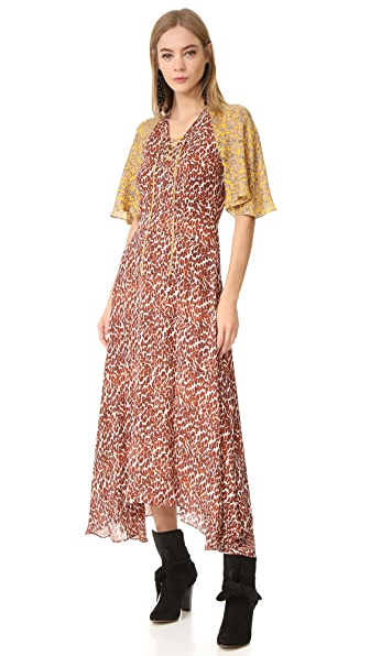 Derek Lam 10 Crosby Maxi Dress with Flutter Sleeves - Pumice Multi