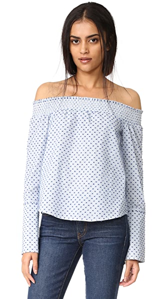 Derek Lam 10 Crosby Long Sleeve Off The Shoulder Shirt - Oxford Multi